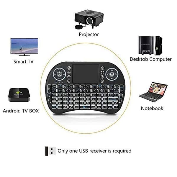 Touch-Pad RF500 Mini Wireless Keyboard Mouse Remote With 3 Color Backlight 1